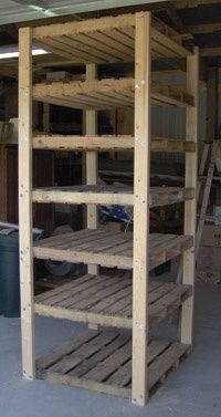 pallet shelving for garage and also one for my outside closet. Going to utilize