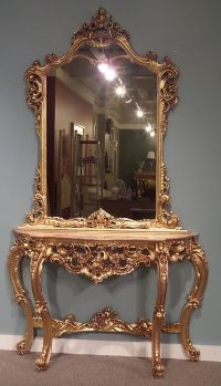 Two Piece Ornate Rococo Style Marble Top Console Table ...