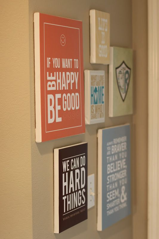 Free printables. Print them on scrapbook paper and then mod podge them to a boar