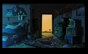 messy bedroom background animation night gravity falls bed 2d mess drawing microwave cartoon artworks jeffrey beds fall thompson visual da