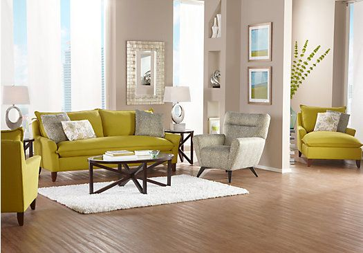 Shop for a Sofia Vergara Catalina Chartreuse 7 Pc Living Room at Rooms To Go Find Living Room