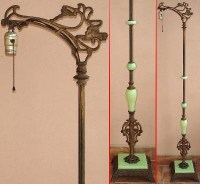 1920s? Bent Bridge FLOOR LAMP w/JADEITE GREEN GLASS Art