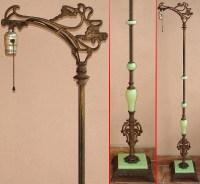 1920s? Bent Bridge FLOOR LAMP w/JADEITE GREEN GLASS Art ...