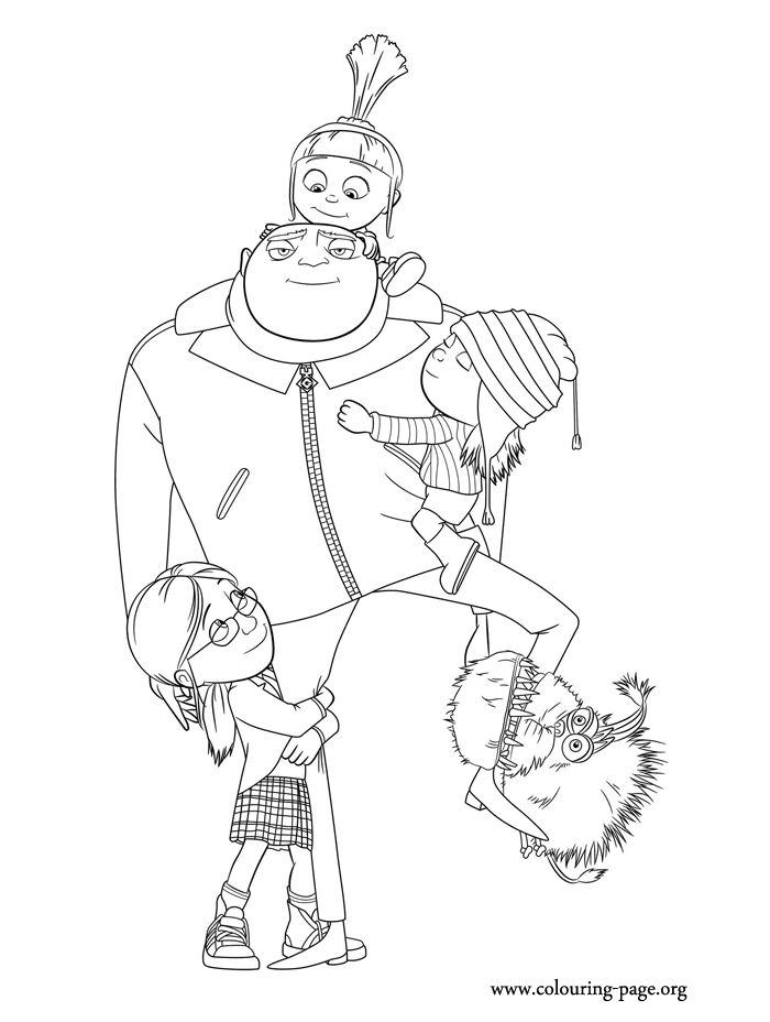 A beautiful coloring page with the characters of