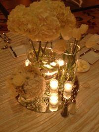 Modern romantic centerpieces All white centered on mirrors ...