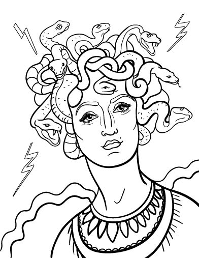 Printable Medusa coloring page. Free PDF download at http