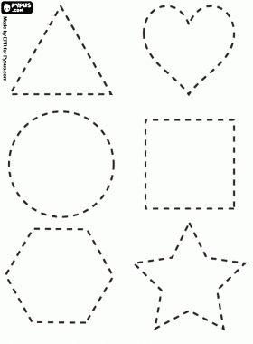 desenho de Figuras geométricas em linha pontilhada