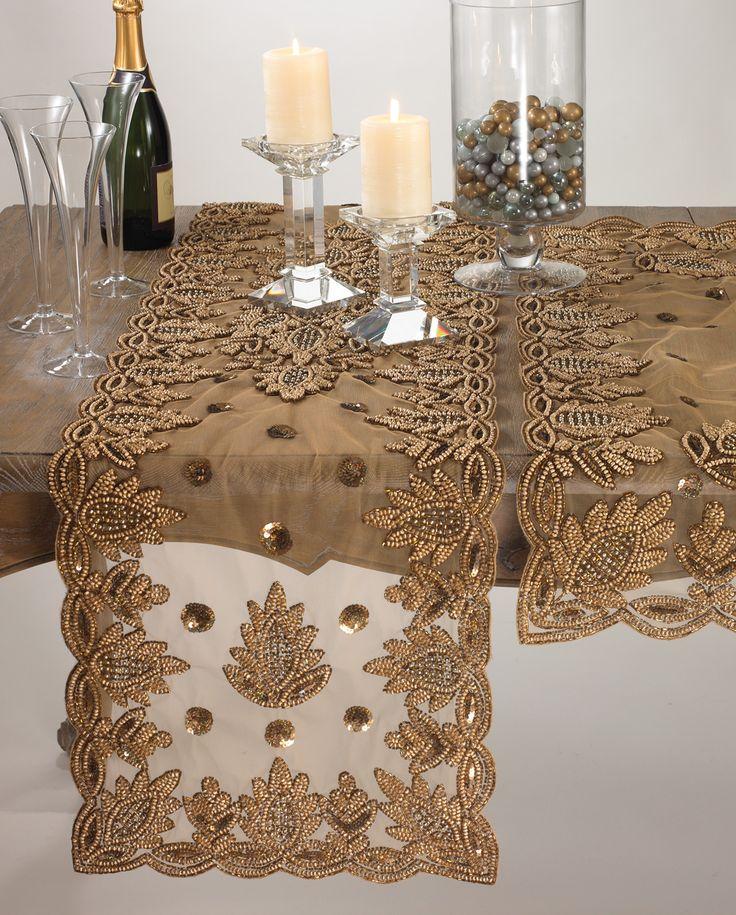 gold chair covers ebay ergonomic near me elegant lakshmi hand beaded table runner 16