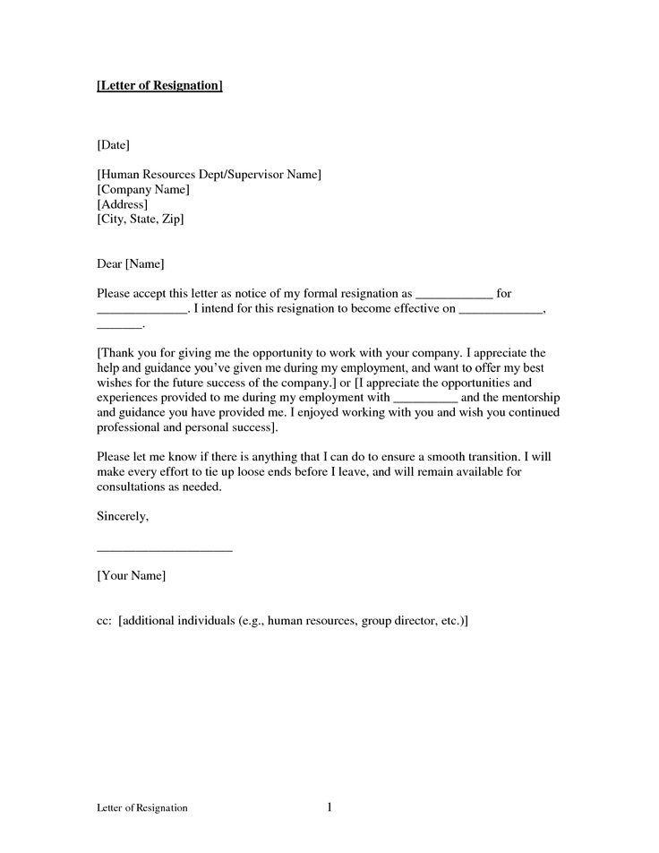 Printable Sample Letter of Resignation Form  resignation letter  Pinterest  Lettering