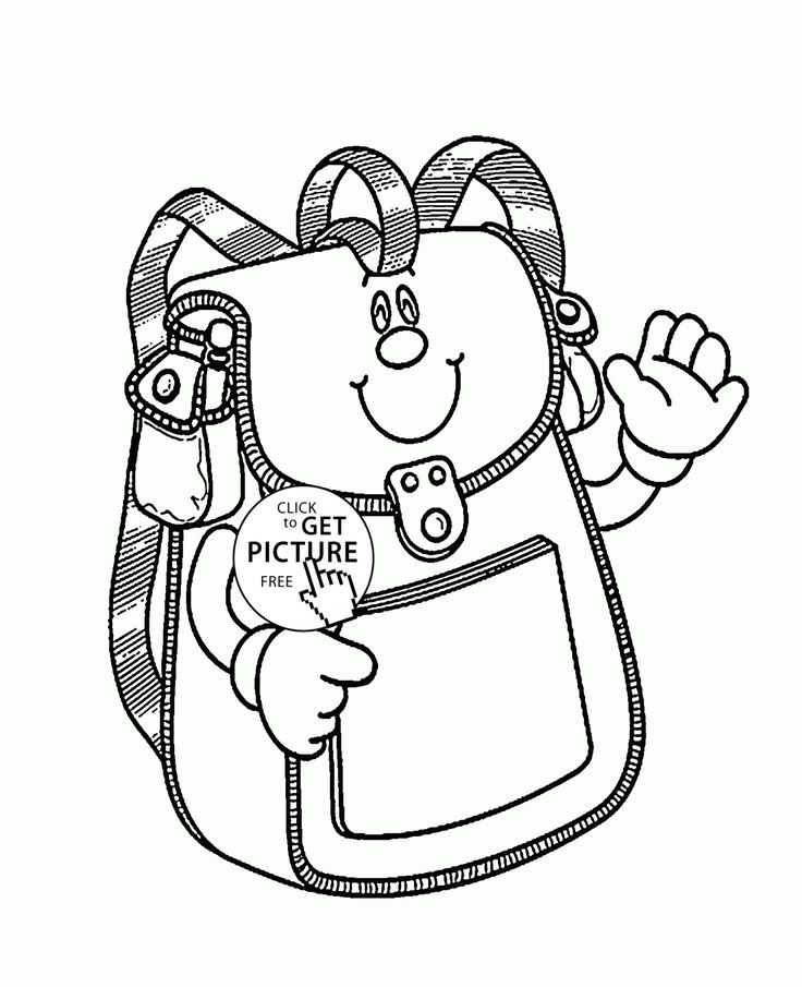 School Bag Smiling coloring page for kids, back to school