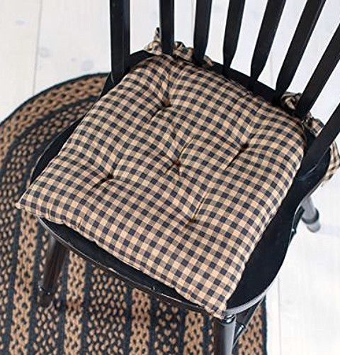handmade wooden chairs ergonomic chair target new country primitive farmhouse black tan check pad seat cushion | ...♥ ~ ...
