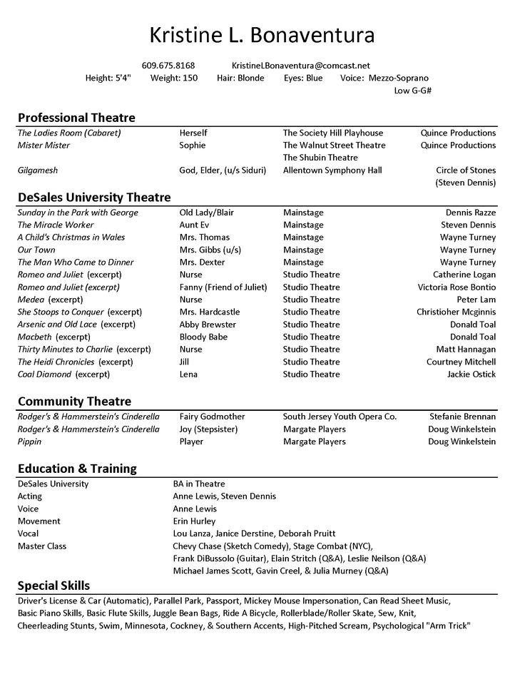 Acting Resume Builder Acting Resume Template Build Your Own