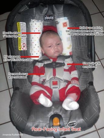 Safe infant car seat positioning