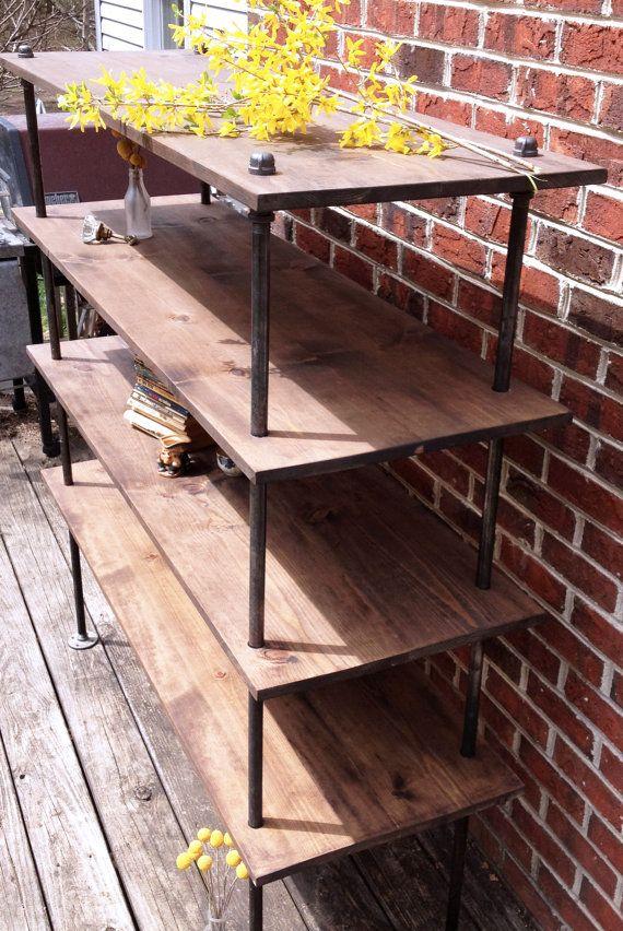 Free Standing Industrial Pipe Shelf Unit  Industrial