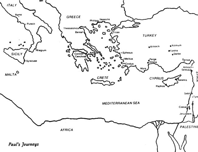 Blank Map Pauls Missionary Journeys Sketch Coloring Page