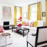Love the yellow drapes. light and bright living room ...