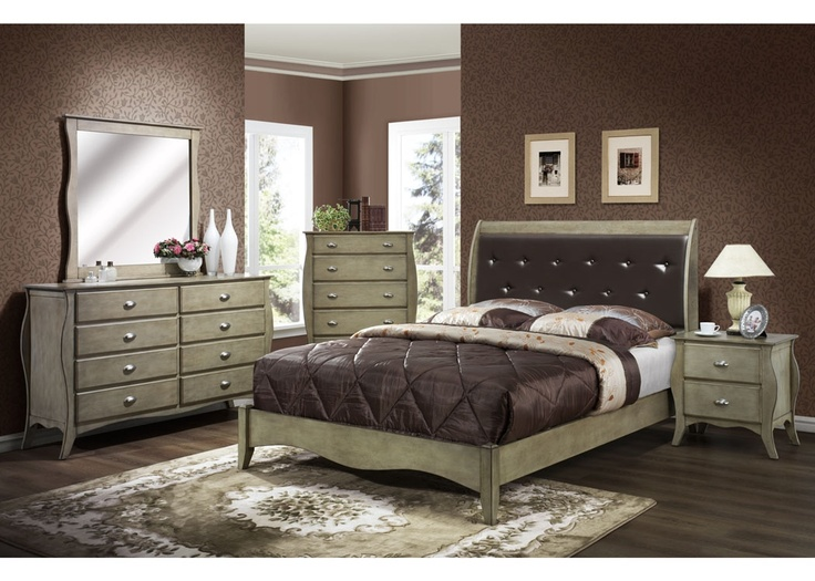 Mollai Collection 7PC Bedroom Set With Brushed Nickel Hardware And A Warm Antique White Finish