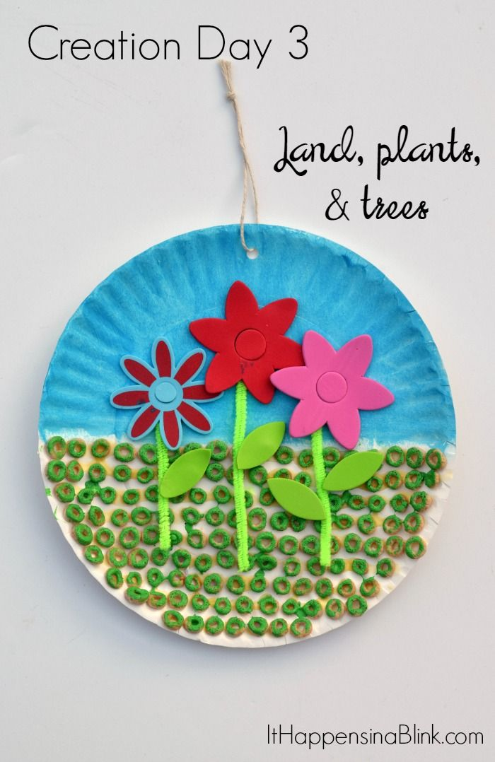 Creation Day 3 Land and Flowers Craft  |  A kid's craft centered around the third day of creation. Great for Sunday School,