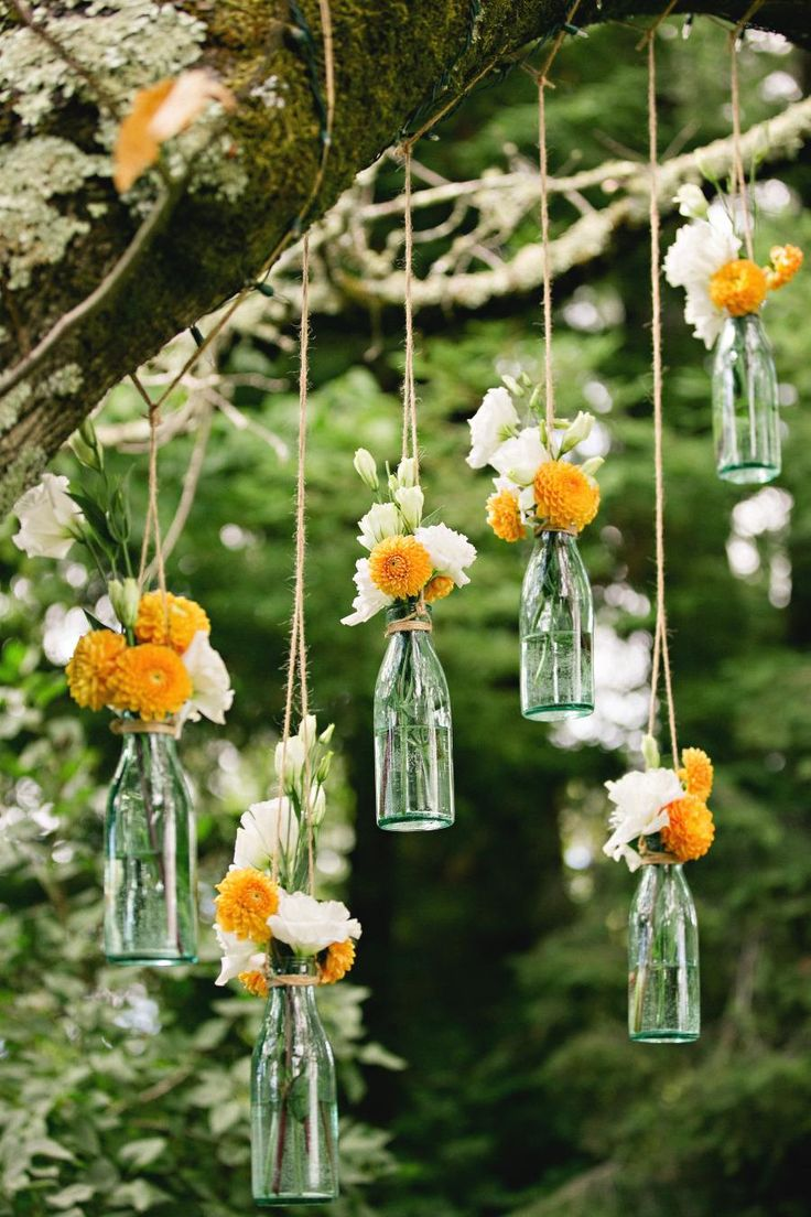 hanging flowers for outdoor wedding ceremony / reception decor.