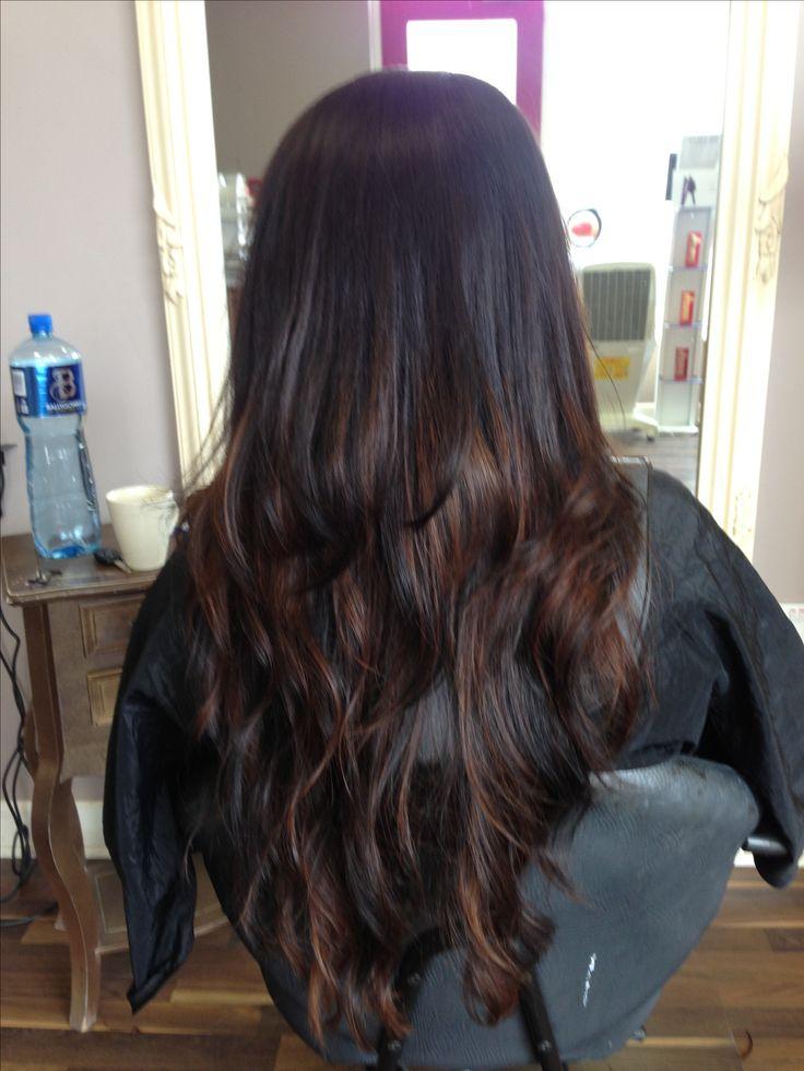 Beautiful Brunettecaramel Balyage On Very Long Hair