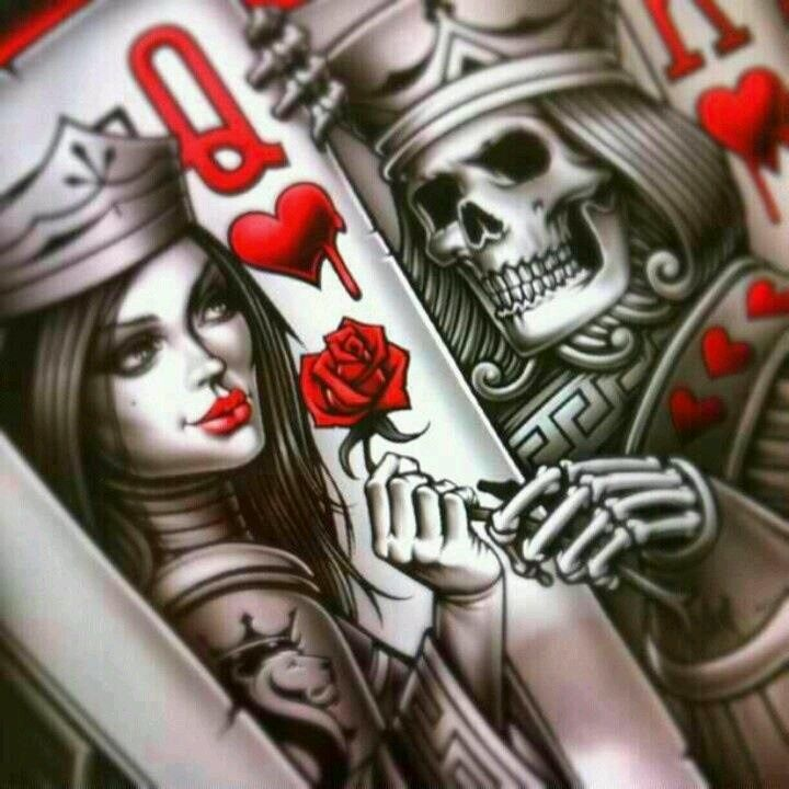 King and queen card tattoos king queen of hearts