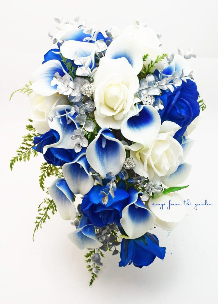 Silver Blue and White Cascade Bridal Bouquet Blue Picasso Callas White Roses Silver and