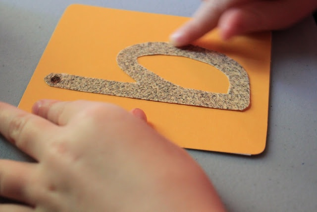 Tracing sandpaper letters is a great way to learn letter