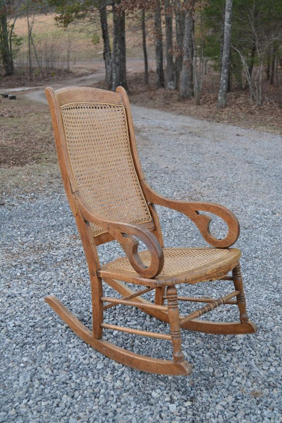 old fashioned rocking chairs gaming chair accessories oak cane back and seat antique by panchosporch, $195.00 | chear swing ...