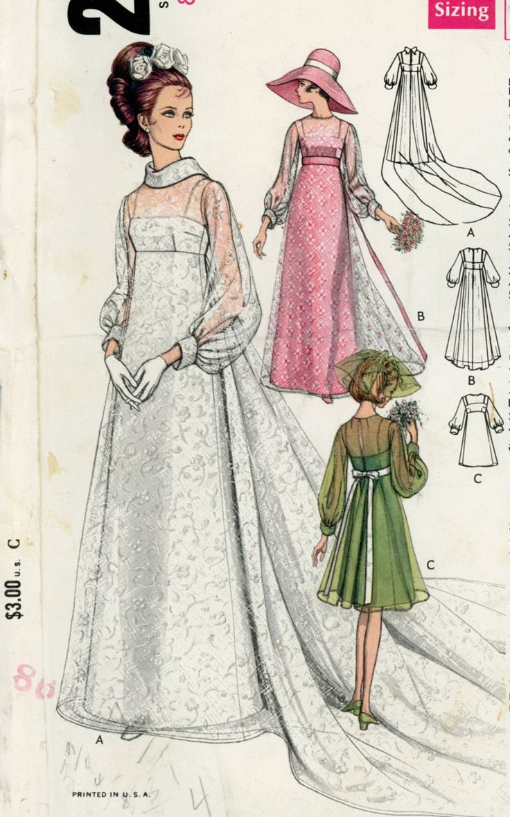 Vogue 2058 Misses 1960s Wedding Dress Pattern Bridesmaids