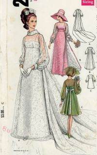 Vogue 2058 Misses 1960s Wedding Dress Pattern Bridesmaids