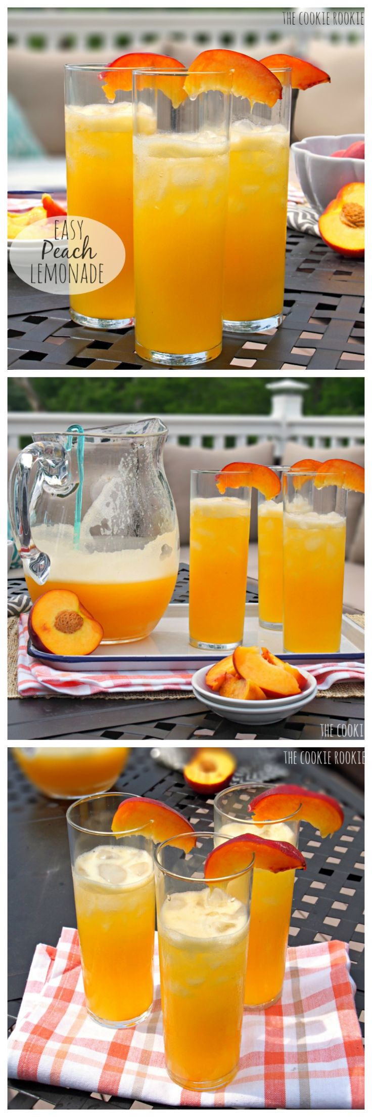 EASY PEACH LEMONADE! Only TWO ingredients.  Cocktail and Nonalcoholic versions. Favorite Summer Drink! – The Cookie