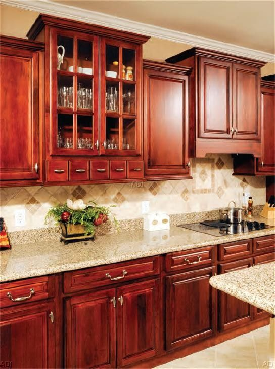 The RANDOLPH is a brightly stained Walnut Kitchen