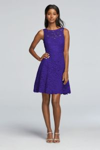 Short Sleeveless All Over Lace Bridesmaids Dress - Regency ...