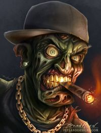 Gangster hip-hop zombie digital painting smoking a cigar ...