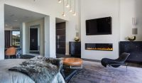 modern mansion - linear gas fireplace with flat screen TV ...