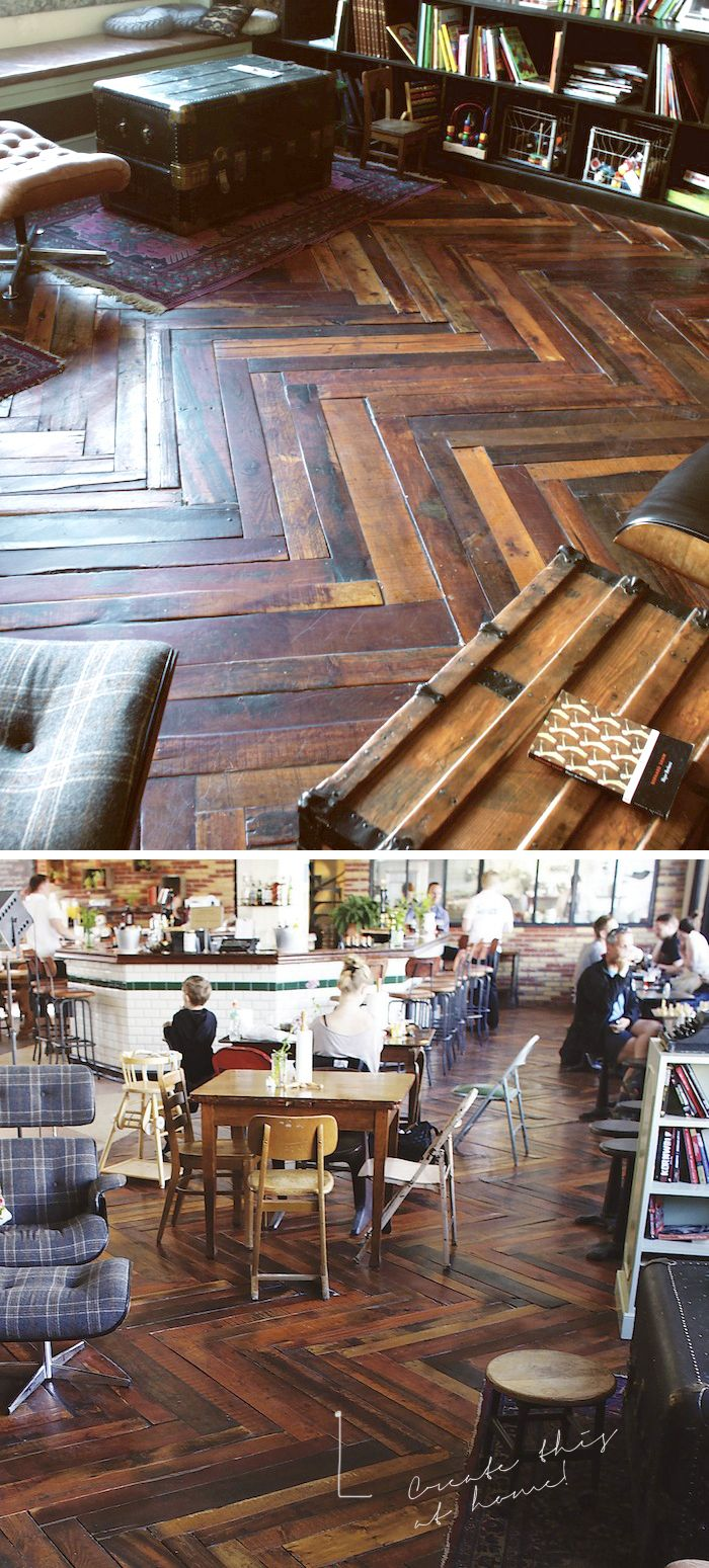 WOOD PALLET FLOOR – I would love to take the wood from my parents grainery and do antique floors
