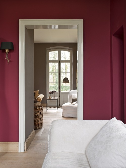 We Love The Cranberry Wall Colour And How It Flows Into A