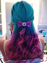 turquoise blue pink purple hair