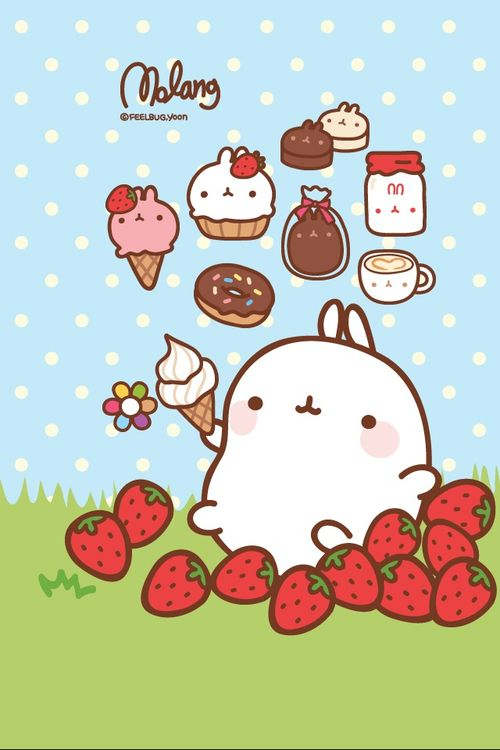 Pusheen Iphone Wallpaper Cute Molang Possibly The Most Adorable Kawaii Bunny Ever