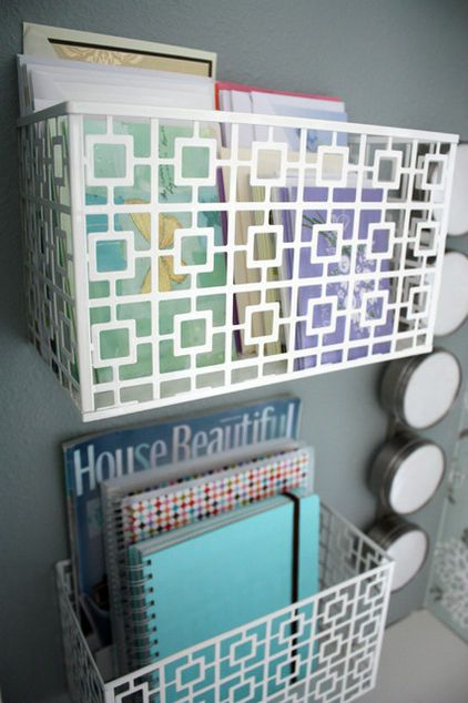Wall pockets. Hang a few wall-mounted magazine racks in a small entry, kitchen o