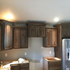 Staining Kitchen Cabinets Darker Decorate Dark Stain Hickory With Crown Moulding | ...