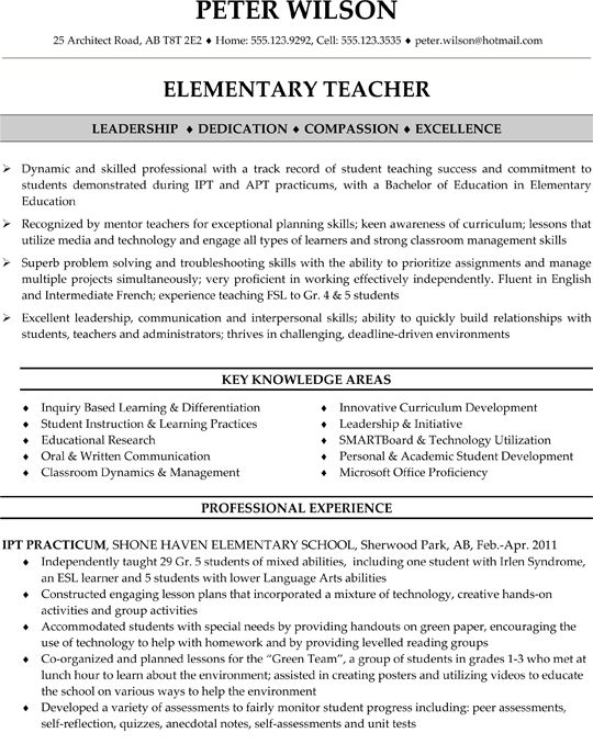 examples of elementary teacher resumes - Resumes For Teachers Examples