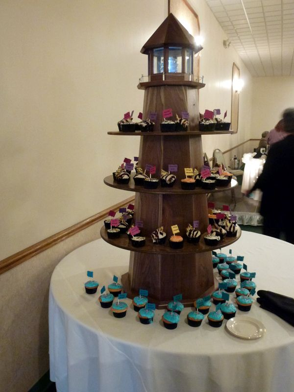 Lighthouse cupcake tower Will be used as an outdoor
