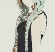 anime girl's green braided hair