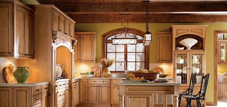 wood kitchen counters cotton rugs blakely maple palomino glaze by thomasville cabinetry ...