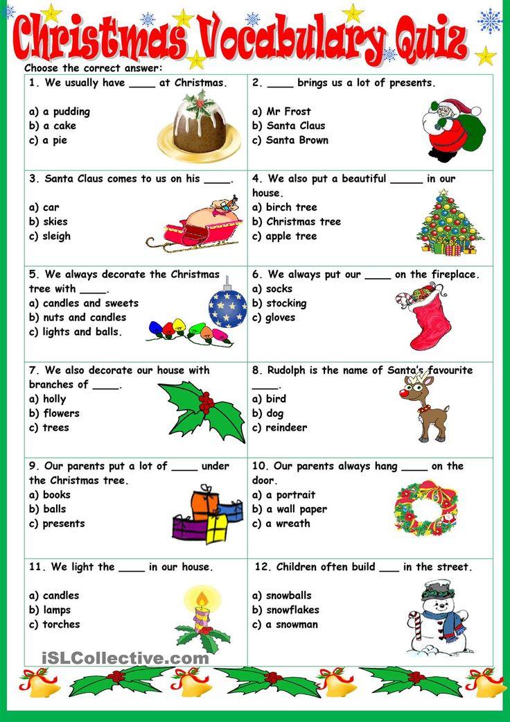 Christmas Vocabulary Quiz Christmas Lessons Pinterest