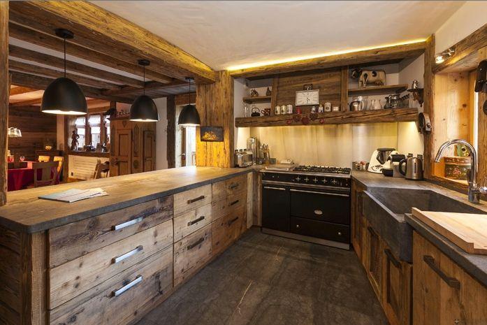 Rustic Chalet Kitchenbut lighten up the floor