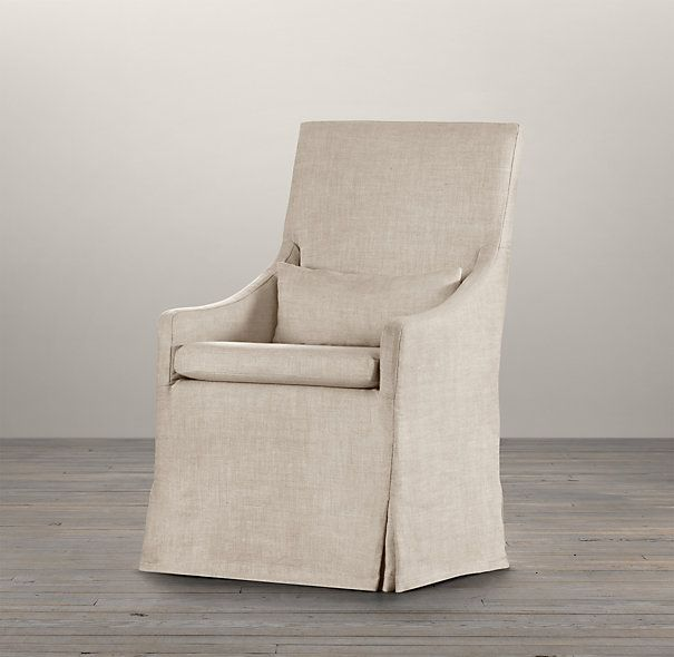 Slipcovered Slope Arm Dining Armchair  Fabric Arm  Side