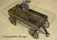 Repurposed antique toy wagon glass top display coffee ...