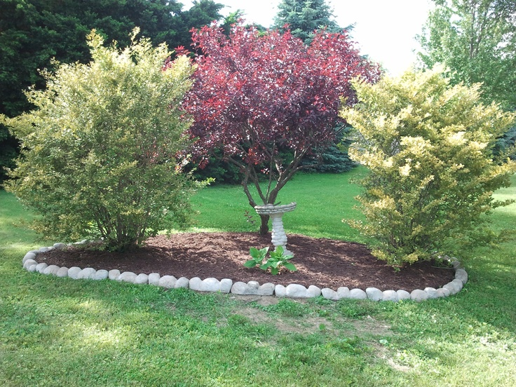 Simple Corner Landscaping To Mark Off Property Line